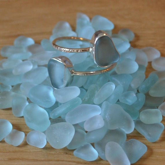 Sterling Silver Bezel Genuine Sea Glass with Dainty Gold Band Hammered Adjustable Ring