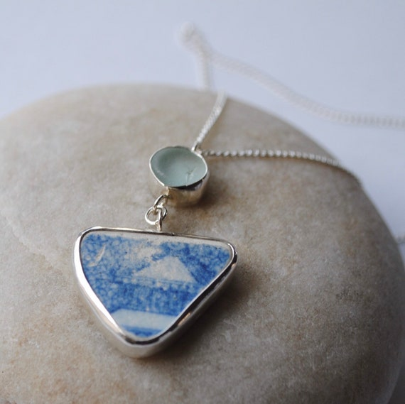 Sterling Silver Bezel Genuine Sea Pottery Shard and Sea Glass Pendant
