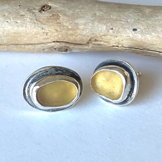 Sterling Silver Yellow Sea Glass Stud Earrings, ready to ship