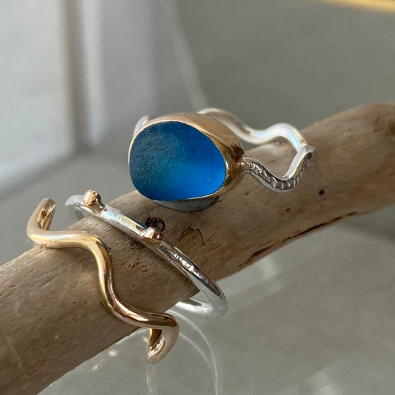 Sea Glass Ring I Sterling Silver I 14k Gold I Sea Glass Stacking Ring I Kate Samson Design