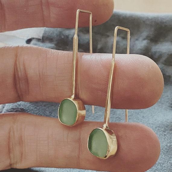 Sea Glass Earrings | Sea Glass Stud Earrings | Bezel Set Sea Glass | Threader Earrings | Gold Threader Earrings