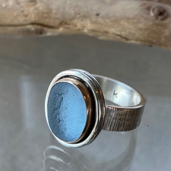 Sea Glass Ring . Ready to Ship . 14k Gold Bezel . Size 7