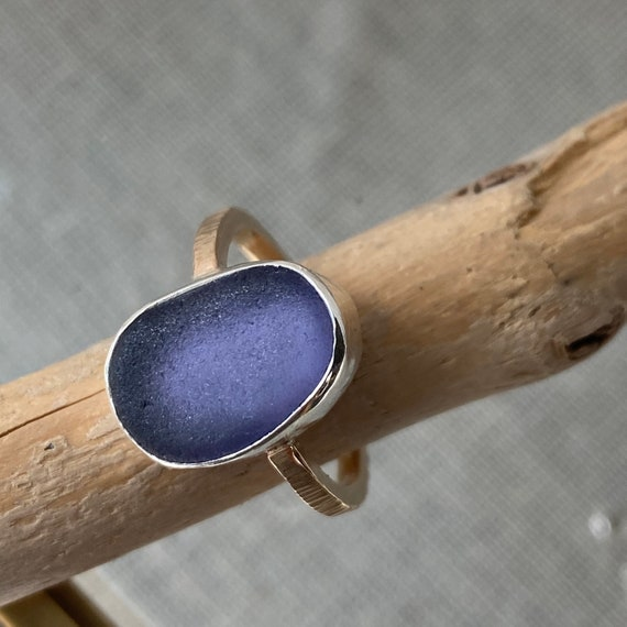 Custom Order for Ashlyn I Sea Glass Ring I Genuine Sea Glass I Sterling Silver Bezel Purple Sea Glass Ring I 14k Gold Hammered Band I Size 6