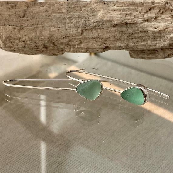 Sea Glass Earrings I Sea Glass Threader Earrings I Sea Glass Jewelry by Kate Samson Design