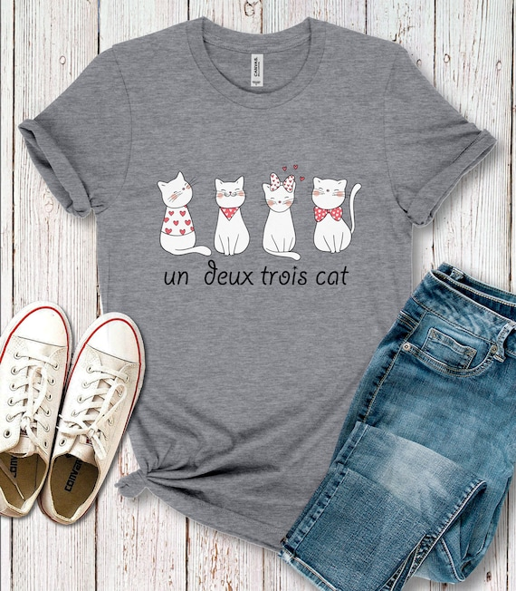 Awesome Printed Unisex Youth T Shirt Gray Un Deux Trois Cat