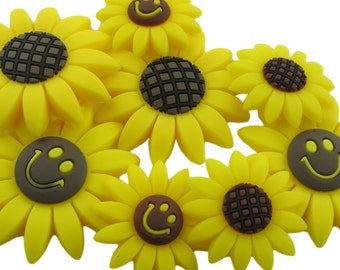 100pcs 4.75cm Soft Plastic Sunflower Ornament Charm