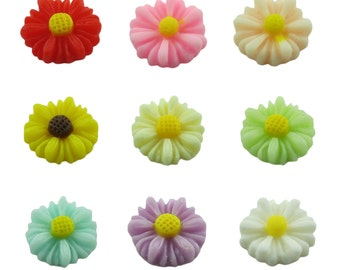 100pcs 17mm Resin Flower Sunflower Ornament Charm Trinket