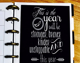 dashboard fierce new year quote for use with the mini happy planner