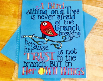Front and Back Cover Set Trust Bird Quote for use with the Erin Condren OR Happy Planner