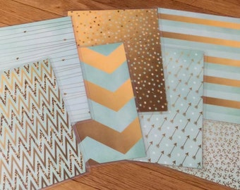 Front and Back Cover Set MINT GOLD Collection for use with Erin Condren Life Planner
