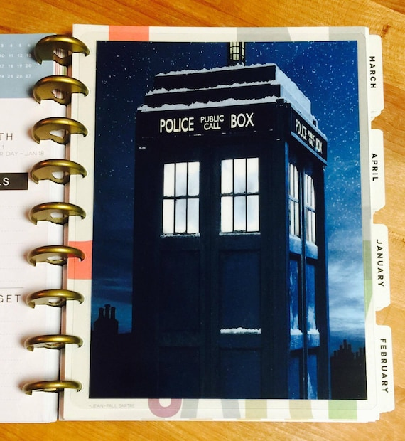 Dr Who Tardis Two Sided Dashboard Insert for use with Happy Planner