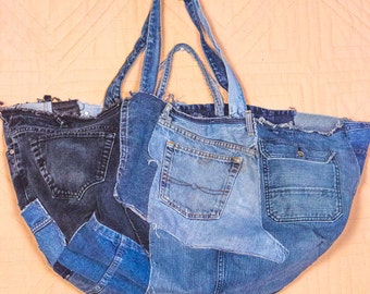 Huge Recycled Denim Bag, Handmade to Order, One of a Kind, for all kinds of shopping