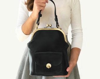 """Leather Handbag """"Gwen"""" in black, retro leather bag, kiss lock bag, leather purse, leather top handle bag, leather shoulder bag, vintage"""