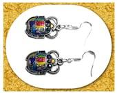 Scarab Beetle Earrings, 925 Silver Wires, Egyptian Ra, Khepri, Morning Sun God, Clip-on Closure Available, Enamel
