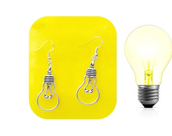 Lightbulb Earrings, 925 Silver Wires, Inspired by Ms. Frizzle, Magic School, Light Bulb, Teacher Student Bright Idea