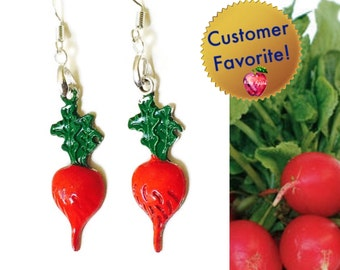 Crunchy Radish Earrings, Vegetable Jewelry, Hand Painted with 925 Silver Wires, Red Green, Gifts for Gardeners Vegetarians Cooks Chefs