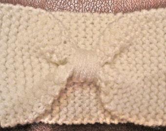 Knit bow headband, knit headband, bow headband, bow ear warmer, knit bow, fall fashion accessory