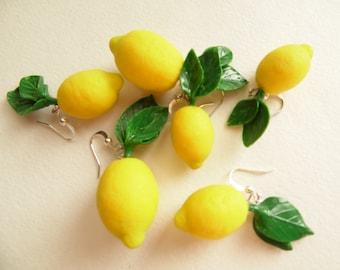 Lemon earrings fake food jewelry Handmade lemon jewelry citrus jewelry polymer clay jewelry gift for woman funny earrings Fruit earrings