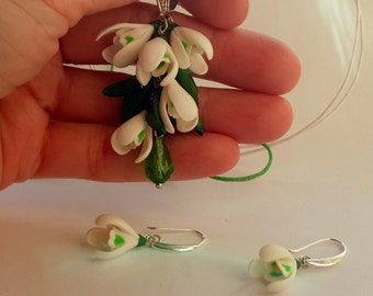 Snowdrops earrings snowdrops pendant snowdrops necklace flower polymer clay jewelry gift for her spring flower floral jewelry flower pendant