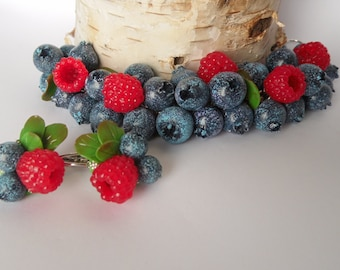 Blueberry Bilberry Raspberry bracelet berry jewelry summer jewelry berry earrings berry bracelet gift for her polymer clay jewelry fake food
