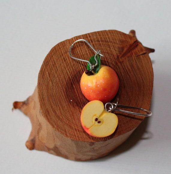 Food earrings Quirky earrings Plant earrings Polymer clay earrings Unique earrings Funny apple earrings Cool earrings