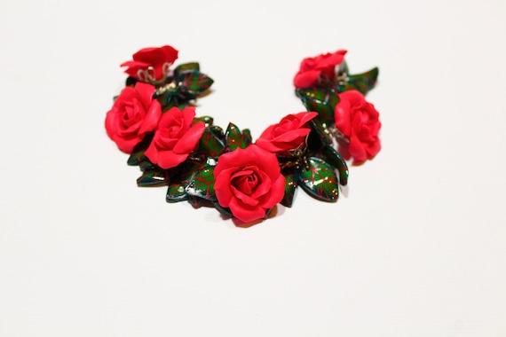 Red Rose Bracelet red and black rose charm bracelet silver leaves polymer clay bracelet handmade bracelet bridesmaid bracelet gift for her