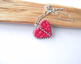 Red heart pendant red shiny heart necklace Valentine's Day gift polymer clay jewelry shiny red heart jewelry heart jewelry gift for her