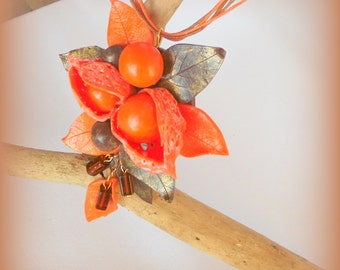 Physalis necklace pendant polymer clay jewelry orange berries mother's day gift gift for her cape gooseberry pendant Husk tomatoes pendant
