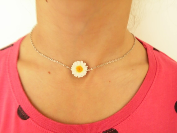 Daisy mini collection of polymer clay jewelry  stainless steel necklace