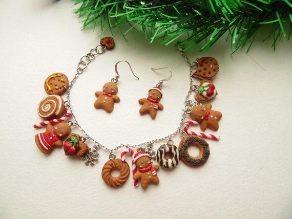 Polymer Clay Christmas Jewelry.Christmas Jewelry Gingerbread Man Bracelet Polymer Clay Jewelry Gift Girl Gingerbread Jewelry Tasty Jewelry Fake Food Jewelry Cookie Jewelry