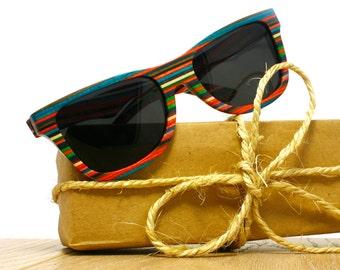 aca9ade8cd57 Layer Wood Sunglasses Skateboard colors Wooden Eyewear Polarized Man Woman  WOODEER HandMade