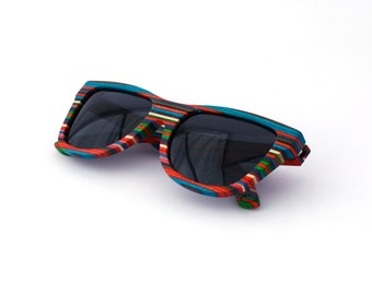 6992ea3e3ced Recycled Layer Wood Sunglasses Skateboard HandMade Wooden Eyewear Polarized  Man Woman WOODEER