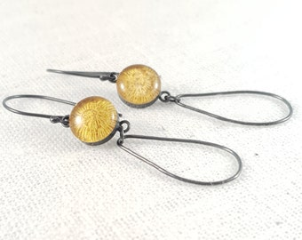 Embroidered Earrings | Yellow Earrings | Oxidised Silver | Resin Earrings | Stitched Gift | Citrine-coloured Earrings | November birthstone