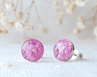 Pink stud earrings, Pink resin studs, Tourmaline-coloured jewellery, Handmade silver studs, Embroidered stitched gifts, Nature inspired gift