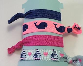 Beach sailing  nautical themed girls hair tie set