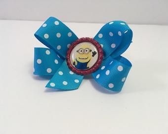 Minion blue with white polka dot hair bow