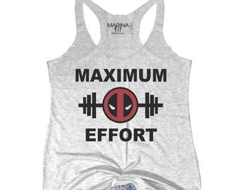 3a0f9c0b7 MAXIMUM EFFORT, gym tank, funny shirt, dead pool, super hero, workout tank,  super hero tank, crossfit, yoga tank, gym tank, -FIT100