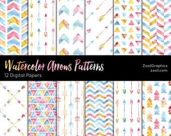 """Watercolor Arrows Patterns, 12 Digital Papers (12""""x12""""), Photoshop Pattern File .PAT Included, Seamless, Commercial Use, INSTANT DOWNLOAD"""