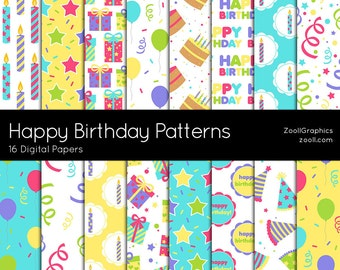 "Happy Birthday Patterns, 16 Digital Papers (12""x12""), Photoshop Pattern File .PAT Included, Seamless, Commercial Use INSTANT DOWNLOAD"