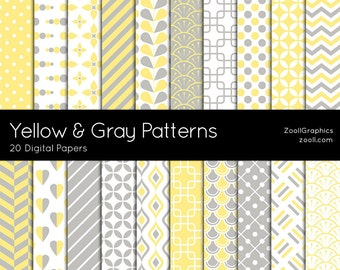 """Yellow And Gray Patterns, 20 Digital Papers (12""""x12""""), Photoshop Pattern File PAT Included, Seamless, Commercial Use  INSTANT DOWNLOAD"""