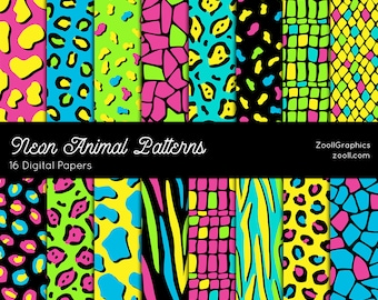 """Neon Animals Patterns, 16 Digital Papers (12""""x12""""), Photoshop Pattern File .PAT Included, Seamless, Commercial Use, INSTANT DOWNLOAD"""