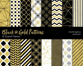 """Black And Gold Patterns, 16 Digital Papers (12""""x12""""), Photoshop Pattern File .PAT Included, Seamless, Commercial Use, INSTANT DOWNLOAD"""