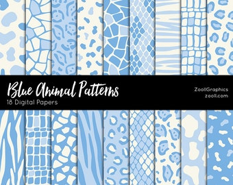 """Blue Animals Patterns, 18 Digital Papers (12""""x12""""), Photoshop Pattern File .PAT Included, Seamless, Commercial Use, INSTANT DOWNLOAD"""