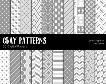 "Gray Patterns, 20 Digital Papers (12""x12""), Photoshop Pattern File PAT Included, Seamless, Commercial Use, INSTANT DOWNLOAD"