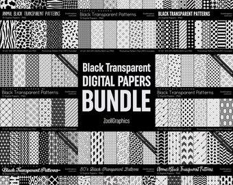 Black And Transparent Digital Papers BUNDLE, Over 100 Digital Papers 12x12, PNG Transparent Background, PAT File Included, Instant Download