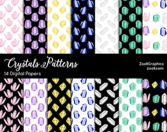 "Crystals Patterns, 14 Digital Papers (12""x12""), Photoshop Pattern File PAT Included, Seamless, Commercial Use INSTANT DOWNLOAD"