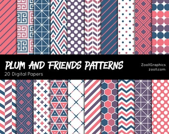 "Plum And Friends Patterns, 20 Digital Papers (12""x12""), Photoshop Pattern File PAT Included, Seamless, Commercial Use, INSTANT DOWNLOAD"