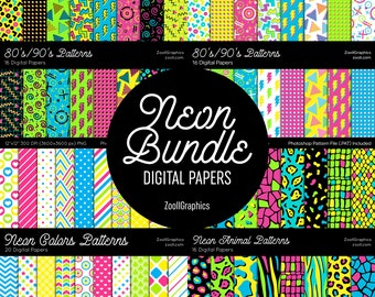 """Neon Digital Papers BUNDLE, Digital Papers 12""""x12"""", PAT File Included, Seamless Patterns, Commercial Use, INSTANT Download"""