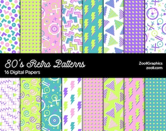 """80's Retro Light Patterns, 80's/90's Patterns, 16 Digital Papers 12""""x12"""", PAT File Included, Seamless Retro Background, INSTANT DOWNLOAD"""