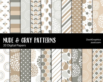 """Nude & Gray/Grey Patterns, 20 Digital Papers 12""""x12"""", Photoshop Pattern File PAT Included, Seamless, Commercial Use, INSTANT DOWNLOAD"""